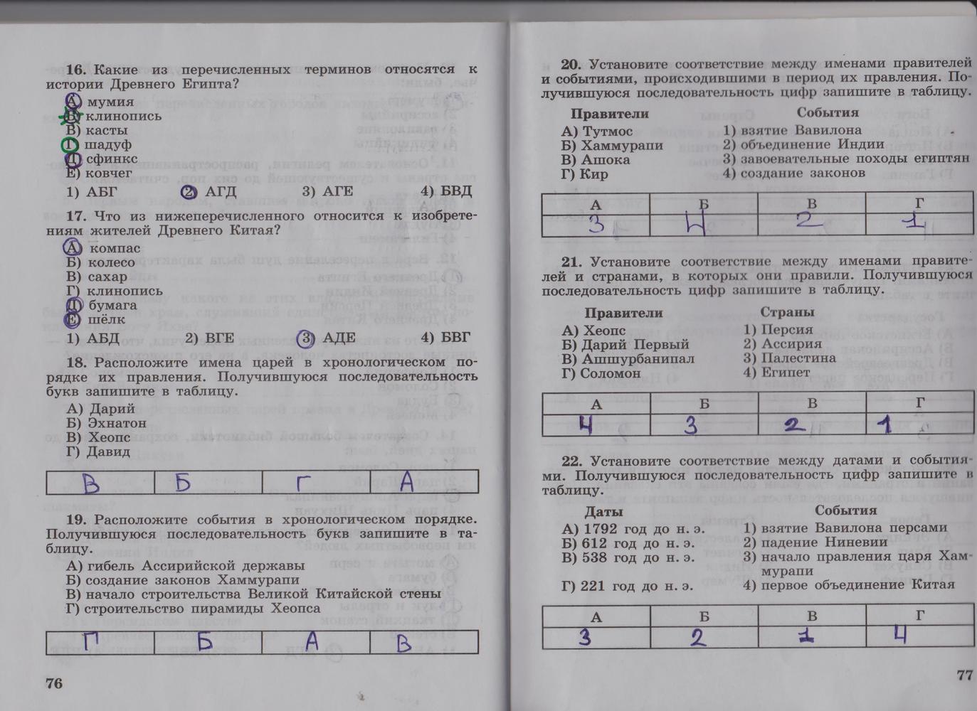 гдз по истории 5 класс рабочая тетрадь 2 часть годер тесты