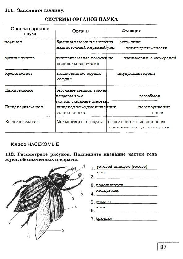 гдз по биологии рабочий тетрадь 7 класс сонин