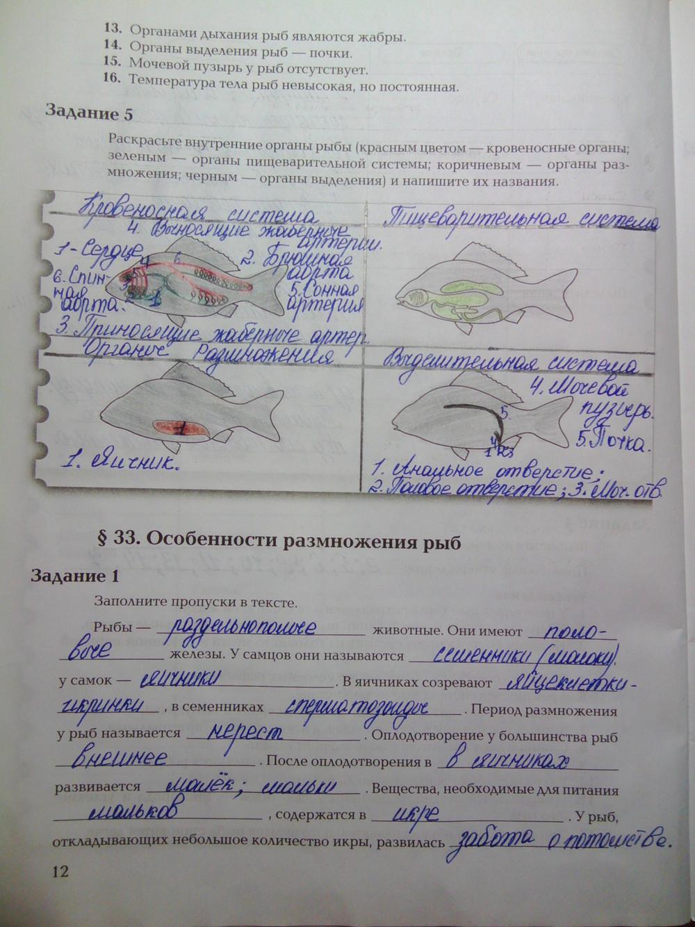 Гдз по биологии 7 класс рабочая тетрадь спиши ру