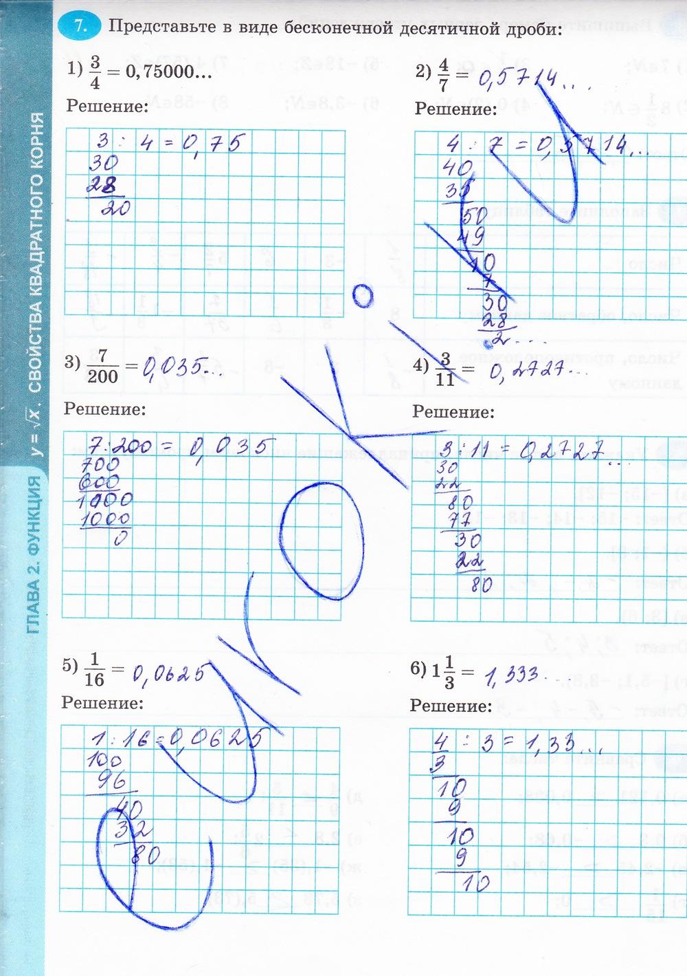 гдз по алгебре 8 класс рабочая тетрадь е.б.ключникова часть1