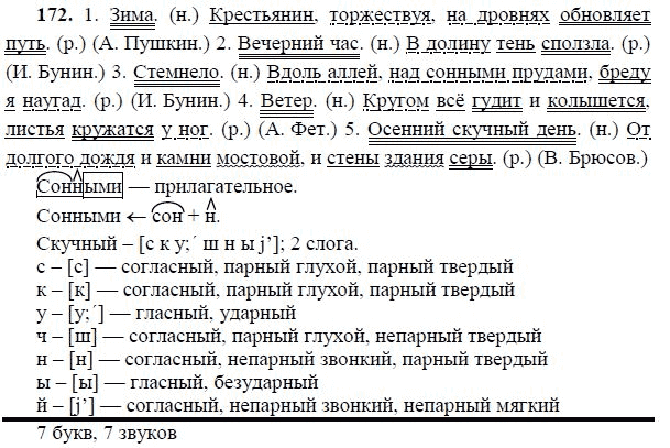 по 6 упражнение172 русскому языку гдз класс онлайн