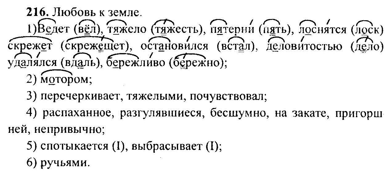 Упр 216 по русскому решебник