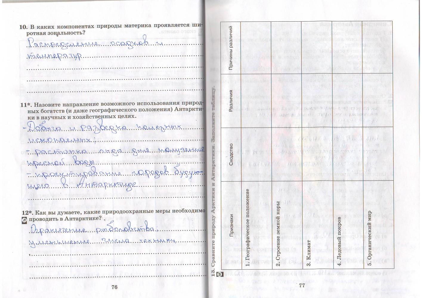 географии тетрадь 7 рабочая по фгос гдз класса