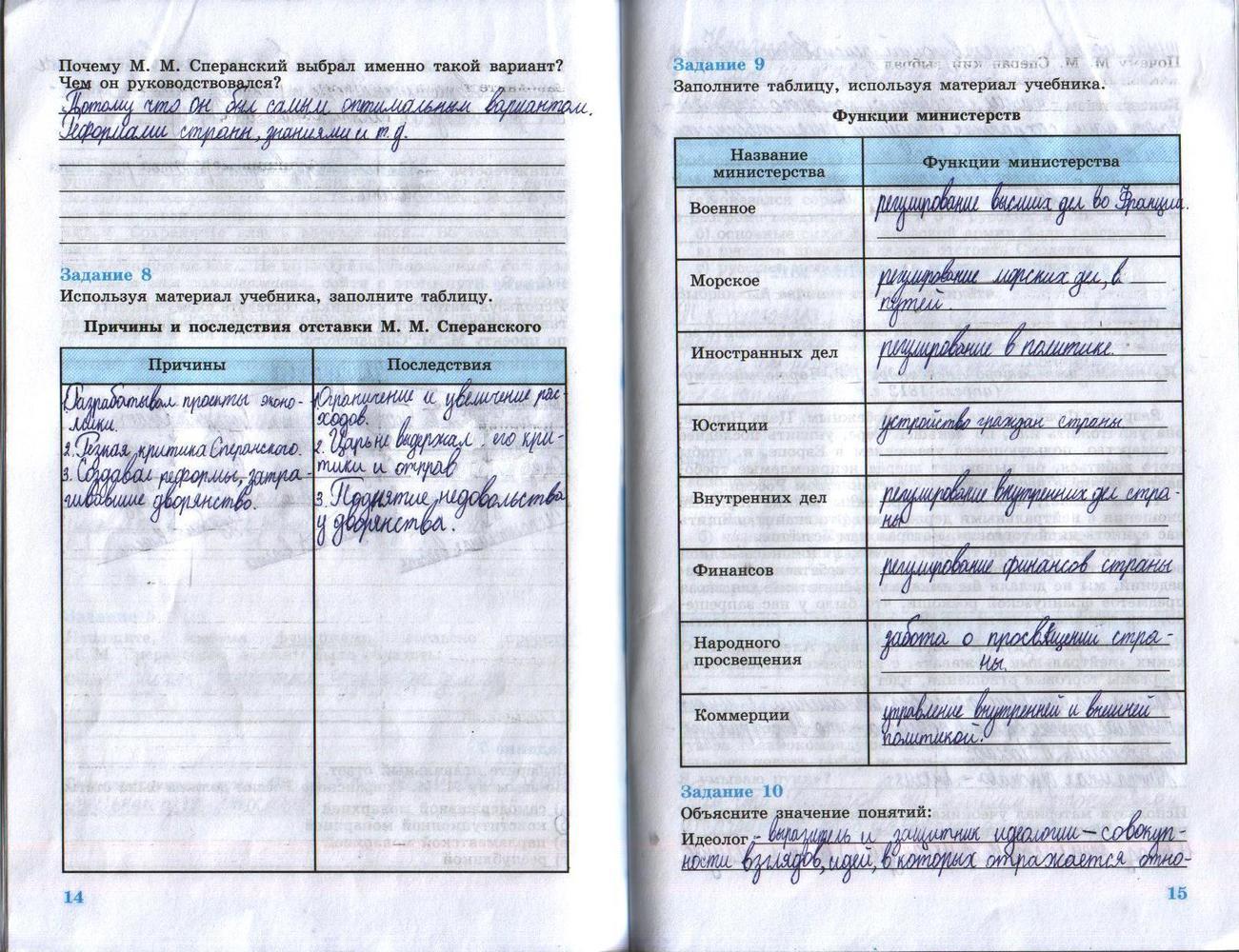Гдз рабочей к история тетради класс 8 россии