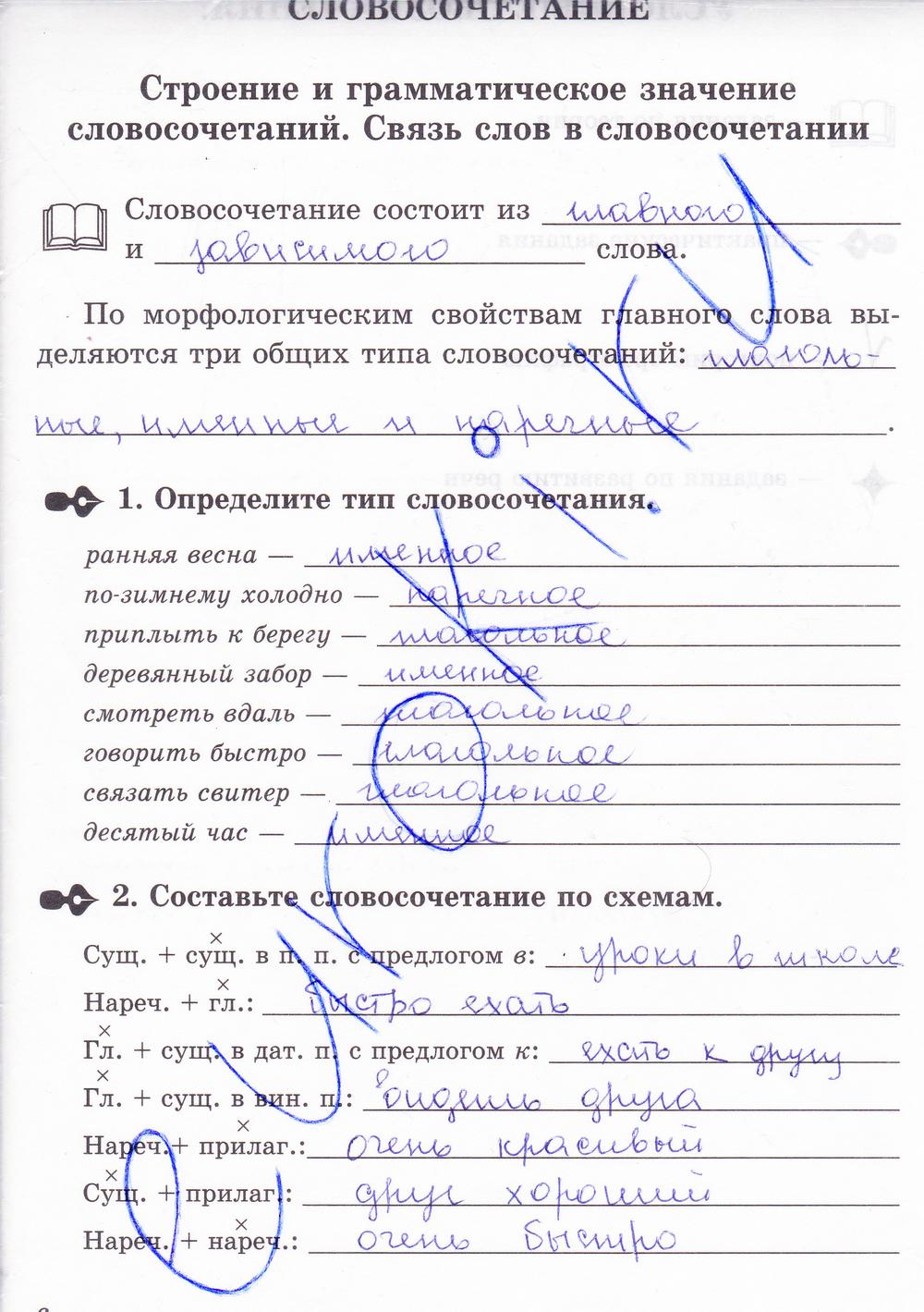 петрова класс тетрадь решебник 8 по русскому языку рабочая