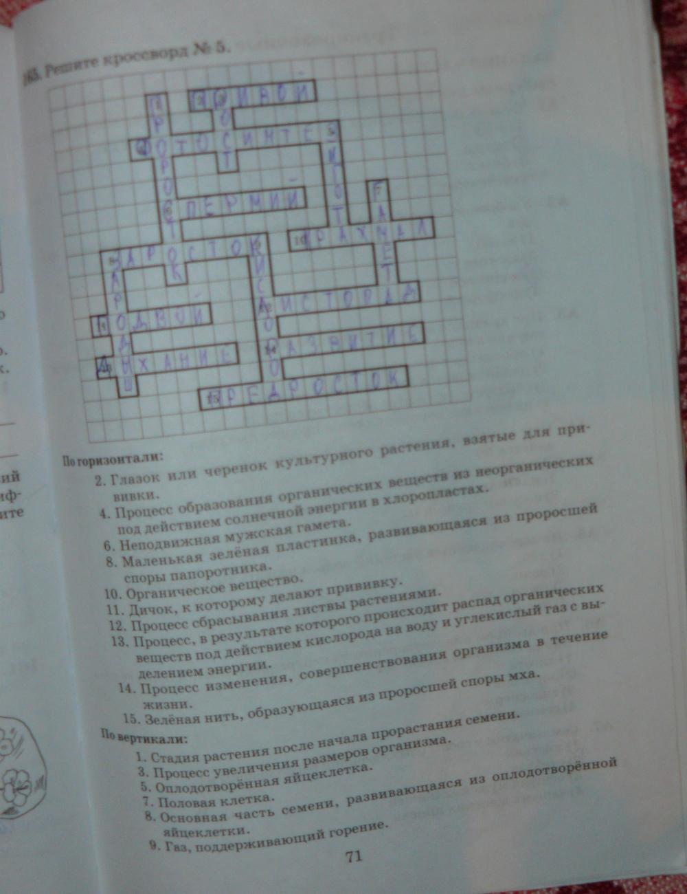Решебник биология 6 класс рабочая тетрадь пасечник дрофа