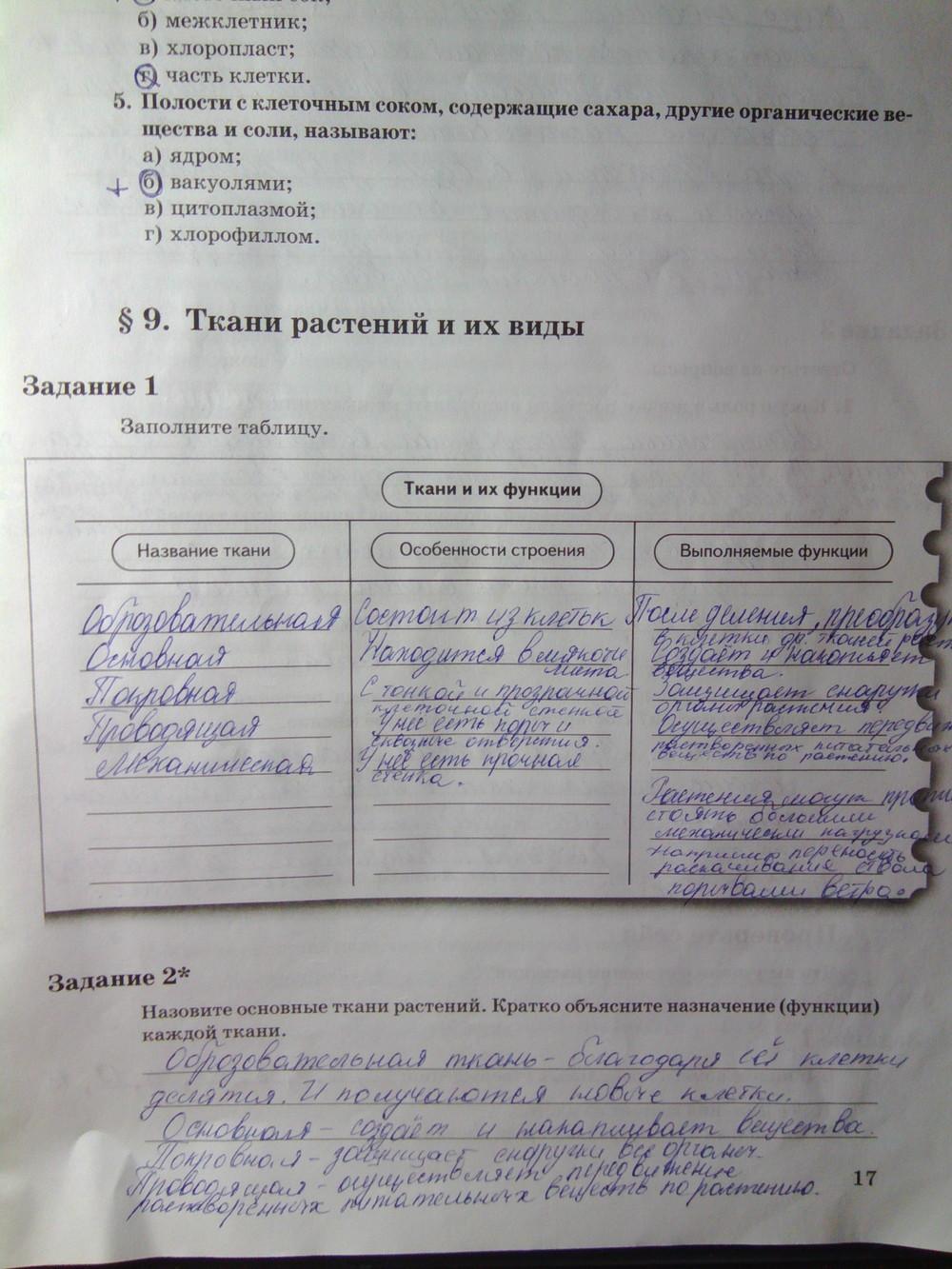решебник по биологии рабочая тетрадь 6 класса пономарева 2 часть