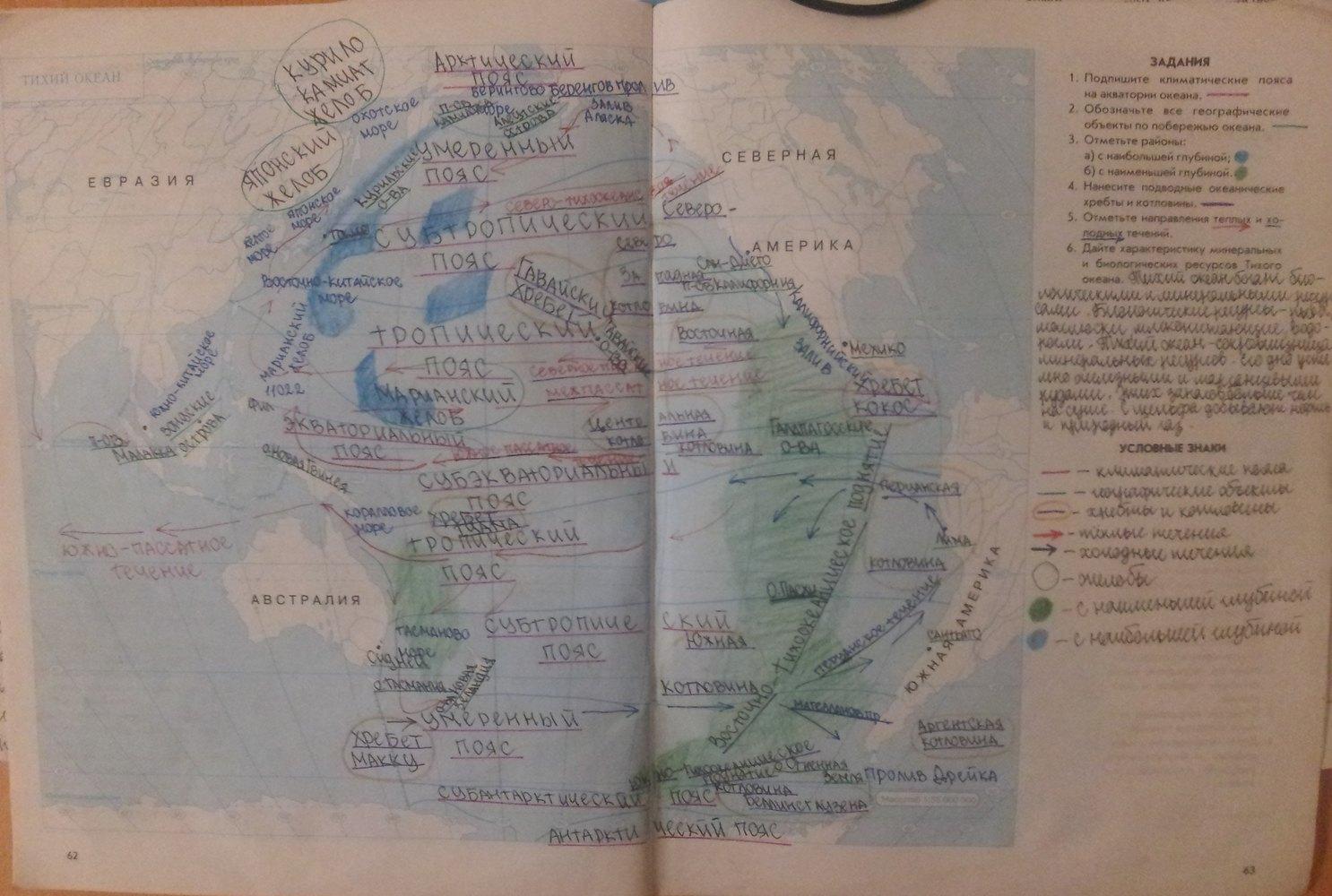 Класс страница контурные карты 7 сиротин по 62 гдз географии